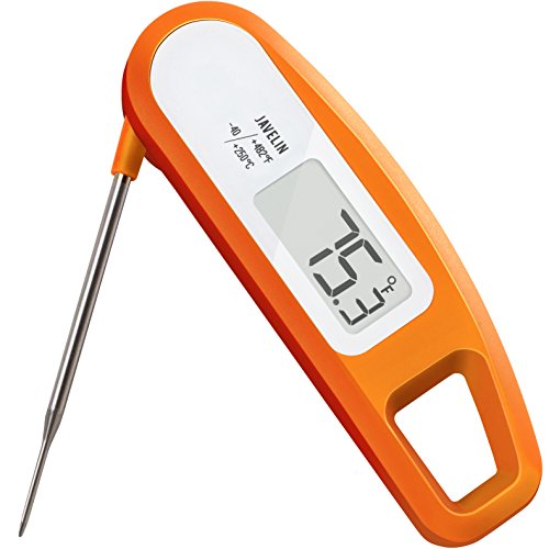 Lavatools PT12 Javelin Digital Instant Read Meat Thermometer (Orange) Antimicrobial Instant Read Thermometer
