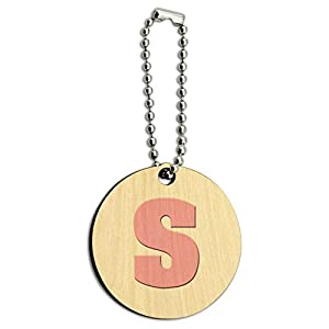 Letter S Initial Baby Girl Block Font Pink Shower Wood Wooden Round Key Chain