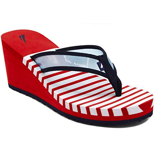 Nautica Women's Wedge Flip Flop, High Fashion Beach Sandal, Thong Style Slide-Tinley-Formula One Red-6 ()