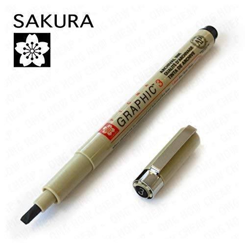 Pigma Graphic Line Pen - Sakura Pigma Graphic - Pigment Calligraphy Pen - Pack of 3 - 3.0mm - Black