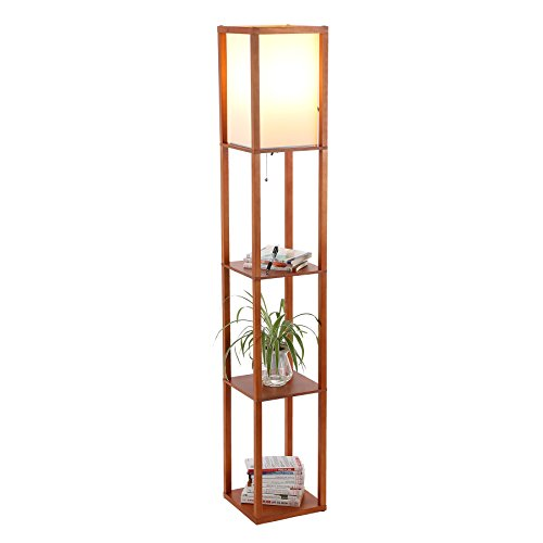 - CO-Z Floor Lamp with Shelves, Modern Etagere Floor Lamp with 3 Wood Storage Display Shelves for Corner Bedroom Bedside Living Room Home Office, Contemporary Standing Lamp with Linen Shade