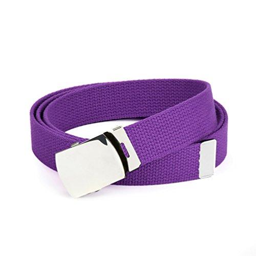 Hold'Em Military Canvas Webbing Belts for MEN'S–Polished Silver Slider Buckle Heavy Duty Adjustable -Purple