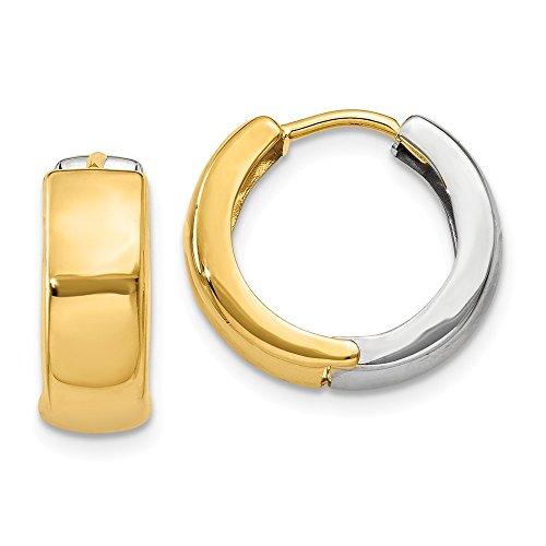 14k Two tone Hinged Hoop Huggie Earrings (10mm x 5mm)