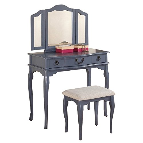 Poundex Bobkona Susana Tri-fold Mirror Vanity Table with Stool Set, Gray Grey Vanity
