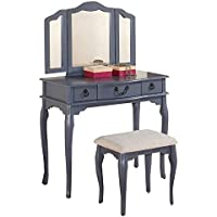 Poundex Bobkona Susana Tri-fold Mirror Vanity Table with Stool Set, Gray
