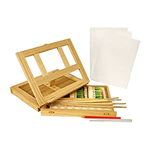 US Art Supply® Wood Table Box Easel Painting Set with 12 Colors, Canvas Panels, Brushes, Plastic Palette & Palette Knives (Acrylic Paint Kit)