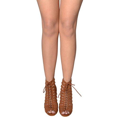 Scarpe Da Donna Scarpe Estive Stivaletti Alla Caviglia Con Lacci Incrociati Marrone Chiaro