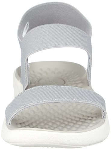 Grey White Crocs Sandal LiteRide Light Women's SxqgU4v
