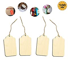 Wood blank tags with holes and strings,can be easy used for hanging decoration.Nice quality,smooth edges.Perfect for many different craft ideas,such as gift tags,price tags,baby shower party favor tags,card making, embellishments, scrapbookin...