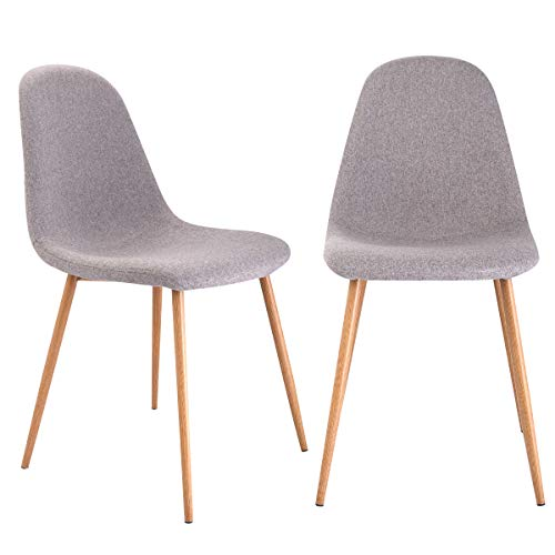 Giantex Dining Side Chairs Set of 2 Sturdy Metal Legs Wood Look Fabric Cushion Seat Back Home Dining Room Furniture Chairs Set, Gray Review