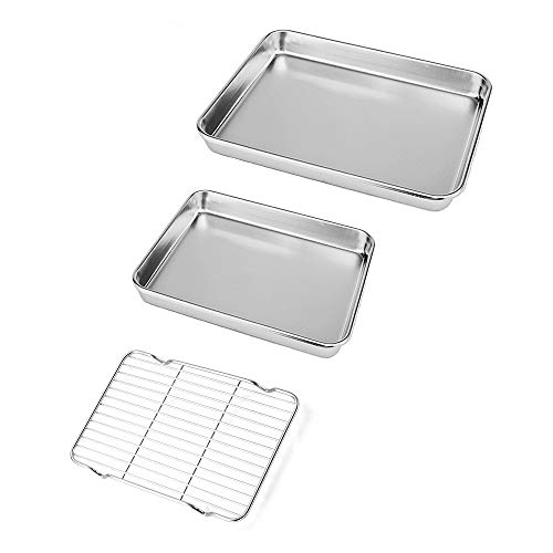 Neeshow Stainless Steel Toaster Oven Pan Tray Ovenware Professional, Heavy Duty & Healthy, Deep Edge, Superior Mirror Finish, Dishwasher Safe,Set of 2 (Toaster Oven Set)