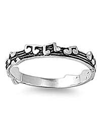 Sterling Silver Women's Music Note Song Ring Classic 925 Band 3mm Sizes 4-10