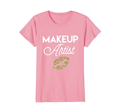 (Womens Makeup artist T-shirt with glitter lipstick women's stylist Large Pink)