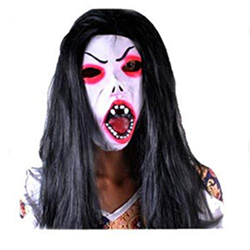 Girls Devil Creepy Halloween Mask with White Face Long Hair and Mouth-Open Horrible for Festival Props Full Face Scary Mask -