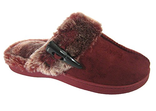 Coolers Womens Microsuede and Faux Fur Mule Slippers Wine IjhUb6q