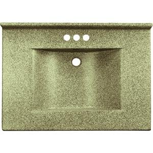 Imperial VW2522CAPSS Center Wave Bowl Bathroom Vanity Top, 25-Inch Wide by 22-Inch Deep, Cappuccino Matte Finish (Vanity Bathroom Tops Imperial)