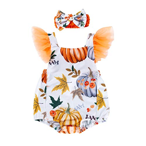 Plus Size Sock Monkey Costume (jin&Co Toddler Baby Kids Girls Printed Pumpkin Costume Romper Bodysuit Clothes Hairband Set Halloween Party)