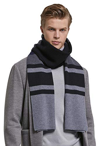 (RIONA Men's 100% Australian Merino Wool Scarf Knitted Soft Warm Neckwear Striped Long Scarves with Gift Box (Black))