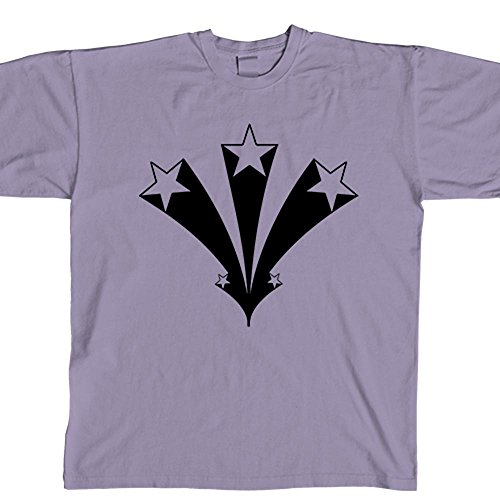 Lavender Starburst (STICKERSLUG Lavender Exploding Stars Starburst Unisex Crewneck cotton graphic t-shirt, size medium)