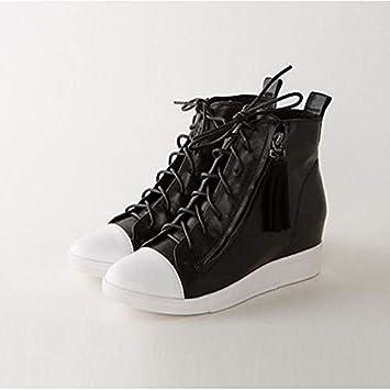ZHZNVX Zapatos de Mujer Nappa Cuero Primavera/Verano Comfort Zapatillas cuña Cerrada Dedo del pie Blanco/Negro / Plata: Amazon.es: Deportes y aire libre