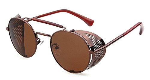 Flowertree® STY056 Metal Frame Mesh Fold-in Side Shield Round 52mm Sunglasses (C6-brown+brown, - Sunglasses Side Shield