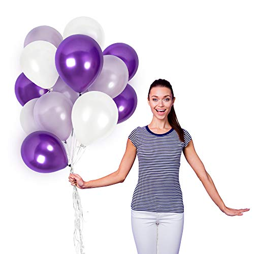 Black And Purple Balloons (Assorted Metallic White Purple Balloons 12 Inch Lilac Lavender Violet Thick Latex Balloon Bulk Pack of 100 and Ribbons Party Supplies for Wedding Bridal Baby Shower Birthday)