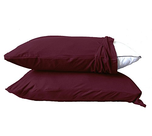 2 Pack Universal Jersey Pillowcase, One Size Pillow Cases fit all Standard, Queen and King Size Pillows, Modal Rayon Spandex Knit Jersey 180 Gram Heavy Weight, Soft than Cotton, Wine