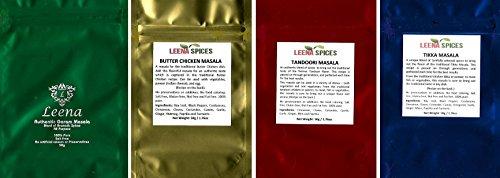 LEENA SPICES - Garam Masala, Butter Chicken Spice, Tandoori Masala Powder Seasoning And Tikka Marinade Blend Rub - 4 Indian Spice Pack by Leena Spices