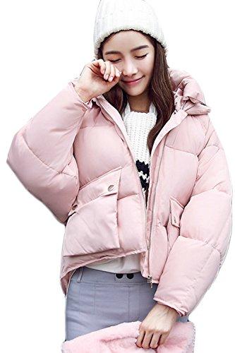 Invierno Caliente Mujer Casual Zip La Outwear Parkas Corta Hoodie Pink Acolchado Grueso IwaZqOa