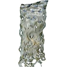 Hair Extensions Clip In Set Extra Long 24 Ins Bleach Blonde Wavy 200 Grms Synthetic
