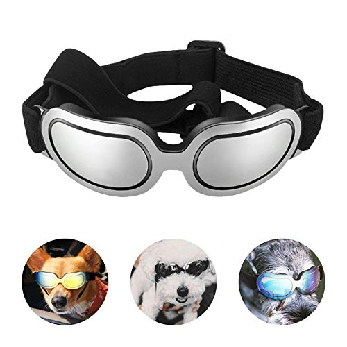 PEDOMUS Dog Sunglasses Small Dog Goggles Doggles Dog Glasses for Small Dogs UV Protection Windproof Waterproof Adjustable Band Silver