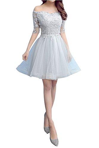 Cocktailkleider Abendkleider Tanzenkleider Spitze mia Silber Kurzarm Kurzes Braut Partykleider Promkleider Silber La xgvn6v