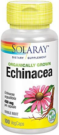 Solaray Organic Echinacea Angustifolia Root Supplement,100 Count