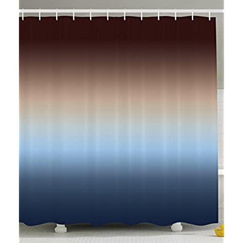 Ombre Shower Curtain By Ambesonne, Home Decorations Art Bathroom Decor, 70  Inches Long, Polyester Bathroom Fabric Set With Hooks, Colorful Design Brown  Blue ...
