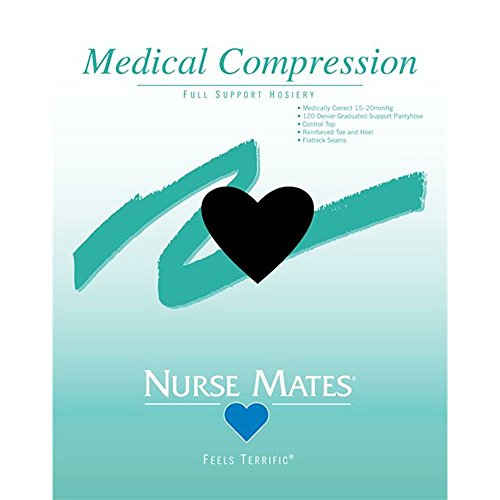 Nurse Mates Women's 15-20 Mmhg Medically Correct Compression Hosiery Hosiery Black