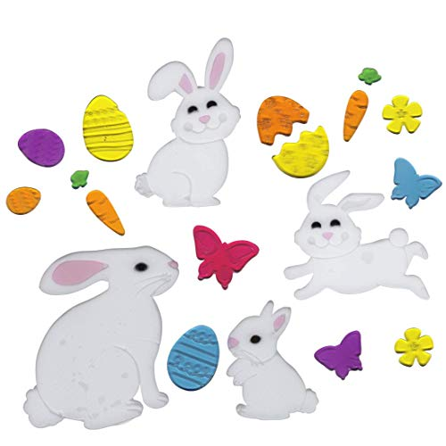 Gel Charms Easter Window Clinks Mama Rabbit and 3 Bunnies Playing Easter Eggs, Butterfly and Flowers