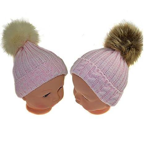 Bebé niñas rosa de punto gorro de invierno único cable Beige Marrón POMPOM  gorro 0 - 12 meses 1e66e151cea