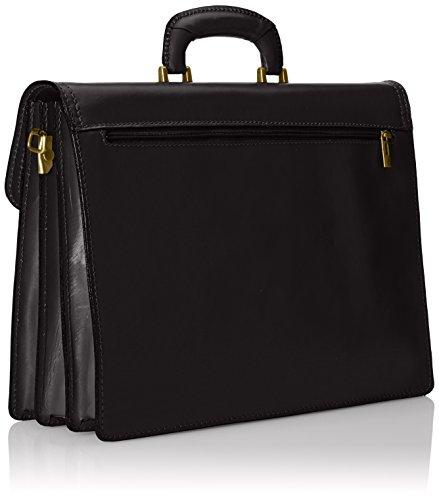 Nero Organizador elegante hombres los Negro genuino caja cuero Maletín 100 in Italy del del Made de bolso yRZWSayr