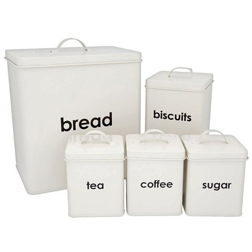 CostMad 5 Piece Kitchen Storage Includes Bread Bin Biscuit Tea Coffee Sugar Caddy Tins Containers Canister Storage Jars Pots Set (Cream)