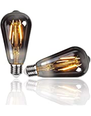 Gorssen Vintage Edison-lamp, Vintage ST64 E27-gloeidraad Gloeilamp 4W Art Deco Retro Edison-gloeilamp 2700K Warm wit - 2 stuks