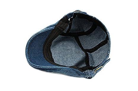 30827c9a52c XueXian(TM) Men s Cotton Flat Cap Newsboy Ivy Cabbie Driving Hat (Blue)   Amazon.co.uk  Clothing