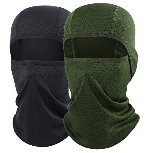 AXBXCX Balaclava - Breathable Face Mask Windproof Dust Sun UV Protection for Motorcycle Cycling Motocross Riding Hunting Hiking Fishing Ski Snowboard Tactical Paintball Airsoft Black and Green