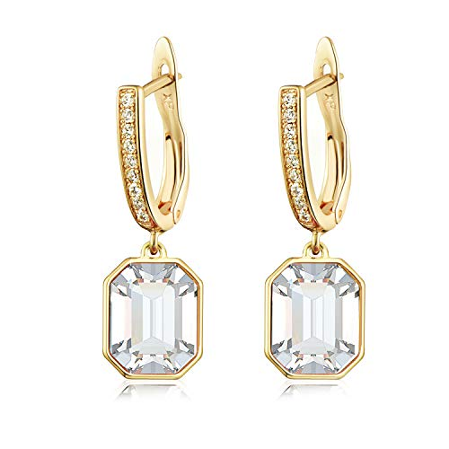 Swarovski Crystal Square Leverback Drop Earrings for Women Girls 14K Gold Plated Hypoallergenic Jewelry (White Crystal/Gold-tone)