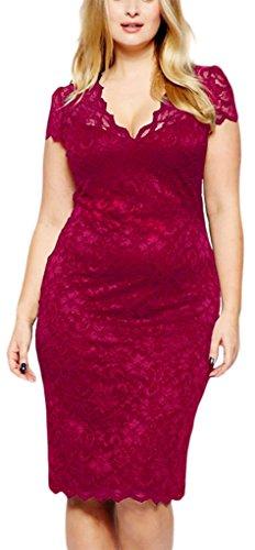 V-SOL Vestido Falda para Mujer Encaje Manga Corto Escote V Boda Rojo Oscuro Asia