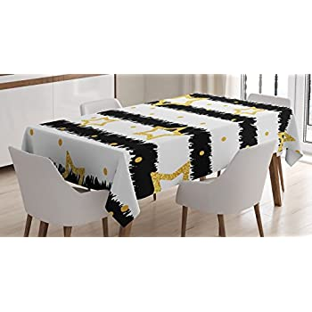 House Decor Tablecloth By Ambesonne, Golden Stars And Dots With Glitter  Effect On Striped Pattern