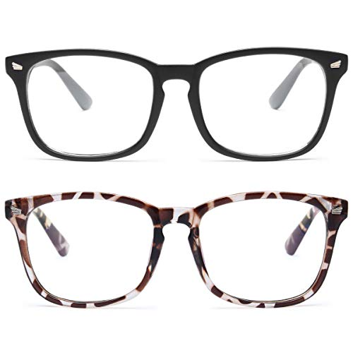 Livho 2 Pack Blue Light Blocking Glasses, Computer Reading/Gaming/TV/Phones Glasses for Women Men,Anti Eyestrain & UV Glare LI8081 (Matte Black+Leopard)