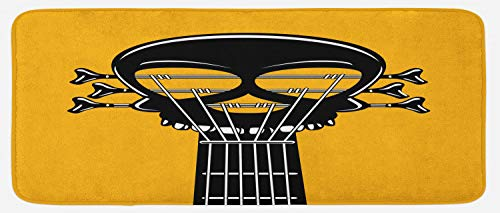 (Ambesonne Rock and Roll Kitchen Mat, Guitar Riff with a Skull Passionate Music Heavy Tunes, Plush Decorative Kithcen Mat with Non Slip Backing, 47