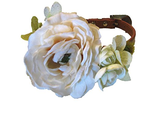Wedding Flower Dog Collar- Rustic Ivory, Flower Dog Collar XS S M L (Large 13-16.5