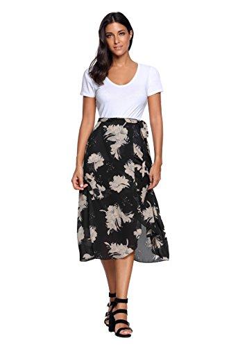 Haut De La Jupe Wrap Taille Haute Décontractée Haut De Femmes Magasin Millésime Mousseline Boho Imprimé Floral Fractionnement Jupes Robe D'été Femme 13