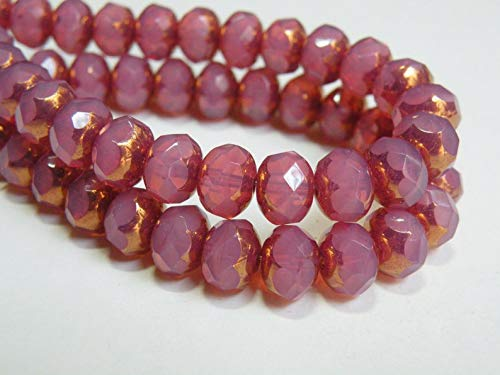 Design Ideas - Pink Rose Opal Picasso Finish fire Polished Czech Faceted Glass rondelle Beads 8x6mm Half Strand NR-594 - Unique Selection Beads